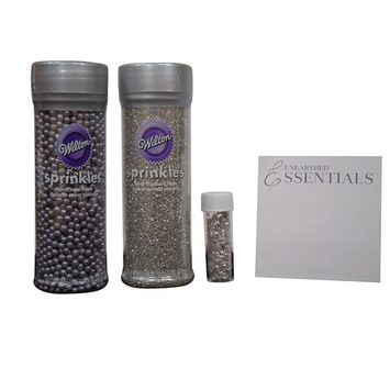 Wilton Silver Decorating kit – Pearlized Sugar ~ Sugar Pearls ~ Edible Star Accents