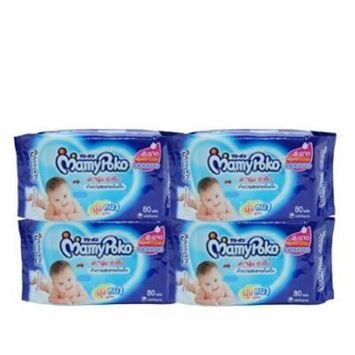 Baby Wipes,mamypoko Baby Bum Wipes Refill , 80 Sheets X 4 Packs