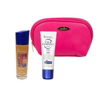 Two Piece Rimmel Kit with Rimmel Match Perfection Foundation (Nude, 1 Oz), Stay Fix Perfect Pro Primer (1 Oz) with Hot Pink Draizee Leather Cosmetic Bag