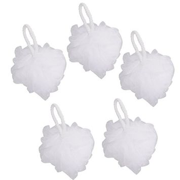 Homyl 5pcs Women Men Bath Shower Sponge Exfoliating Puff Scrubber Balls Massage Exfoliator Scrub - White