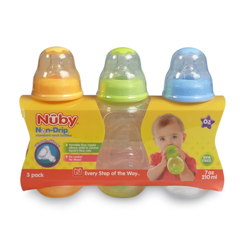 Nuby Infant's 3 Pack Non Drip Bottles 7 Ounces - LUV N' CARE, LTD.