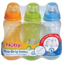 Nuby 3-Pack Non-Drip Standard Neck Bottles (10 oz.)