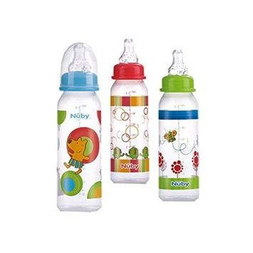Nuby Clear Printed Bottle with Silicone Nipple, 8 Ounce, Colors May Vary