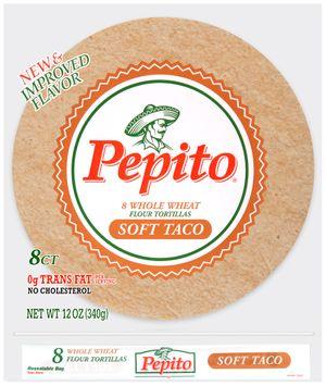 pepito® whole wheat soft taco flour tortillas