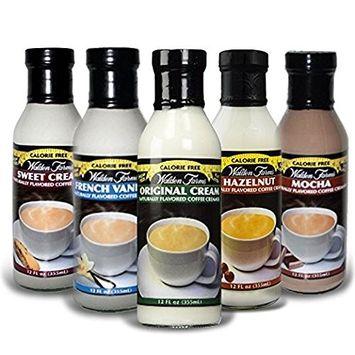 Walden Farms Sweet Cream, Original Cream, Mocha, French Vanilla, and Hazelnut Coffee Creamers 5 Variety Pack 12 oz each
