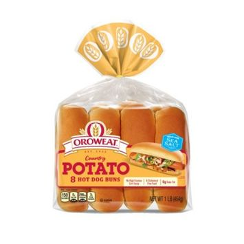 Oroweat Country Potato Hot Dog Rolls, Rich & Hearty, 8 Buns, 16 oz