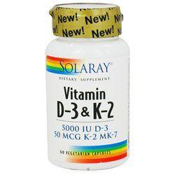 Solaray Vitamin D-3 & K-2 - 60 Vegetarian Capsules