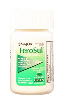 FeoSul Iron Supplement 325 mg Strength Tablets, 100 per Bottle