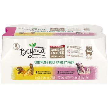 (6 Pack) Purina Beyond Grain Free, Natural Pate Wet Dog Food, Chicken & Beef Recipe Variety Pack, 13 oz. Trays [name: count_per_pack value: count_per_pack-6]