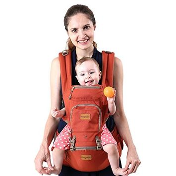 Fresh Shine Baby Carrier Hip Seat, Orange, Cotton, Perfect for Baby, Toddlers and Infants