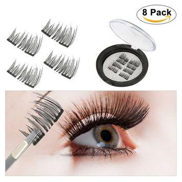 Dual Magnetic False Eyelashes , [No Glue] Yedda 3D False Eyelashes Reusable Best Fake Lashes ,Natural Handmade Extension Fake Eye Lashes ( 2 Pairs , 8 Pieces )
