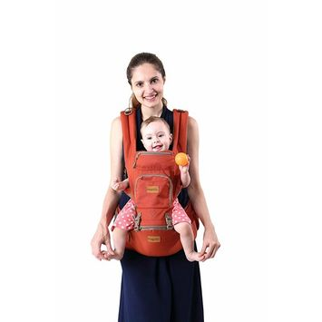 Fresh Shine Baby Carrier Hip Seat 4 in 1 - Soft Breathable Baby Carrier Backpack for Infant, Toddlers- Orange
