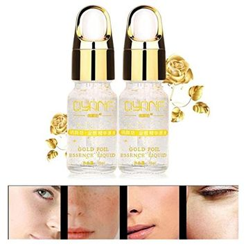 KINGWO Gold Foil Essence Serum Face Lift Anti-Aging Anti-redness Whitening Moisturizing Ageless Looking Skin, Good For Dark Circles, Puffiness, Fine Lines– For Men and Women