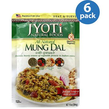 Jyoti All Natural Mung Dal with Spinachi, 10 oz, (Pack of 6)