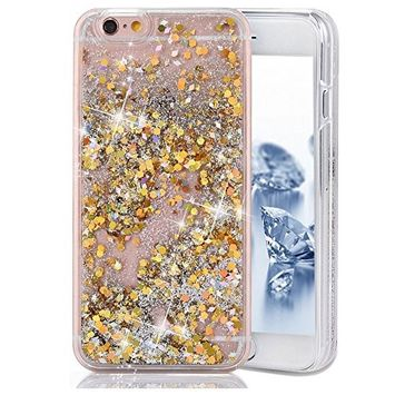 Urberry Iphone 7 Case,Gold Running Glitter Cover, Sparkle Love Heart, Creative Design Flowing Liquid Floating Luxury Bling Glitter Sparkle Hard Case for 4.7 inch iPhone 7 with a Screen Protector