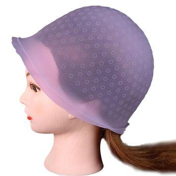 Professional Salon Reusable Hair Colouring Highlighting Dye Cap Hat Hook (Pink)