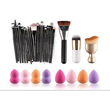 TOPBeauty Pro 23pcs makeup brush With 10pcs Powder Puff