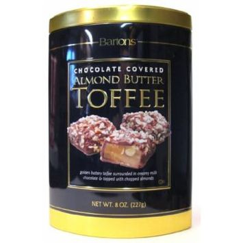 Bartons Gourmet Chocolate Covered Almond Butter Toffee, 8 oz Tin