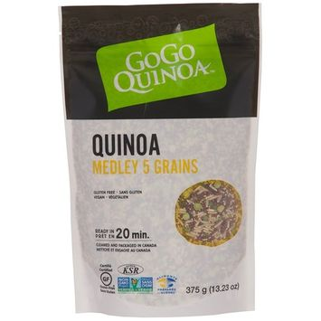 GoGo Quinoa Gluten Free Five Grain Medley, Made with Red Quinoa, Amaranth, Brown Rice, Green Split Peas and Wild Rice, Gluten-Free, Non-GMO and kosher Certified, Vegan 0.83 Lbs