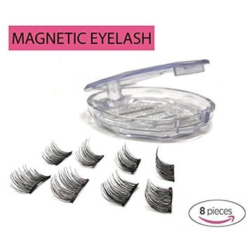 8x Magnetic Eyelash Extensions (Glue Free) Premium Double Ultra Thin Magnet, Half Size – 3D Natural Look in Black Round Case