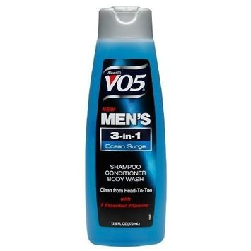 Alberto VO5 Mens 3-IN-1 Shampoo, Conditioner & Body Wash, Oceans Surge 12.5 fl oz (Set of 3)