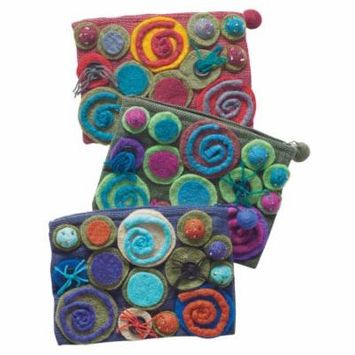 Women's Wool And Felt Appliqued Cosmetic Case From Nepal