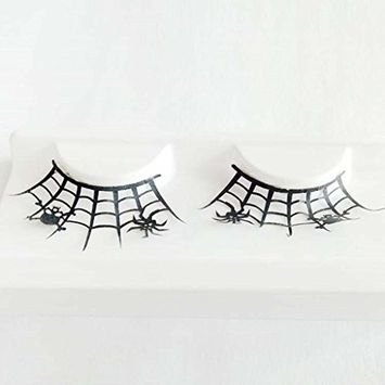 Coerni Premium 1 Pair Cross 3D Spider Bat False Eyelashes for Halloween Party
