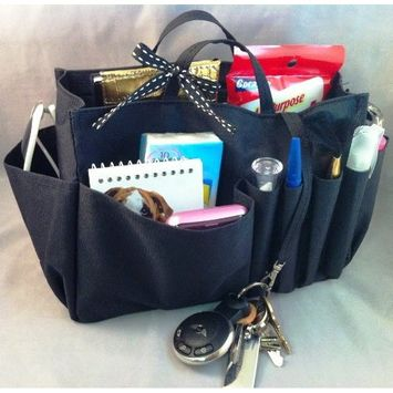 Available in 4 Colors! Jolie Brown & Taupe Handbag Purse Organizer Travel Cosmetic Make-Up Tote Insert Dimensions: L 7.5