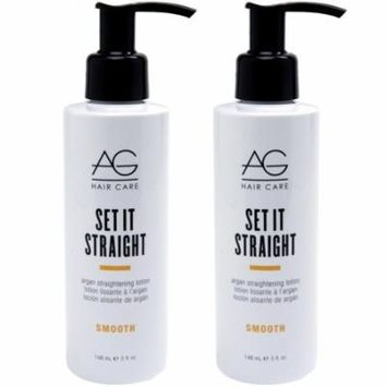 AG Hair Smooth Set It Straight Argan Straightening Lotion 5 oz - Pack of 2