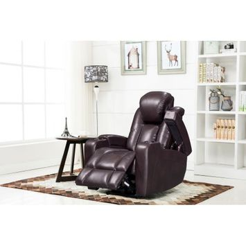 Us Furnishings Express Mae Dark Brown Leather Air Transforming Power Reclining Chair with Storage and Cup holder