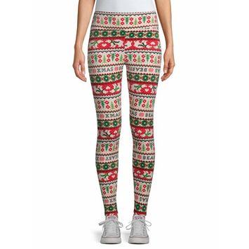 No Boundaries - No Boundaries Juniors' Christmas Velour Leggings [name: actual_color value: actual_color-bearfairisle]