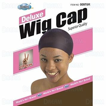 DREAM Deluxe Wig Cap Brown 12 pieces (Model: 097 BROWN), Spandex cap