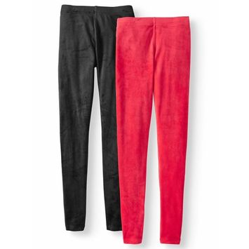 Juniors' Fuzzy Back Velour Solid & Print Leggings 2pk Bundle