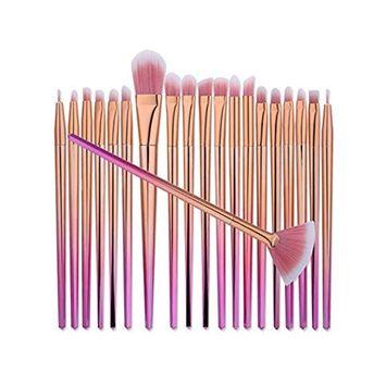 Kasla 20 Pieces Makeup Brush Set Professional Face Eye Shadow Eyeliner Foundation Blush Powder Liquid Cream Cosmetics Blending Unicorn Brushes Kit
