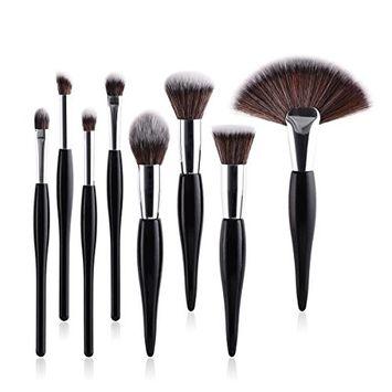 Kasla 8Pcs Makeup Brush Sets Cosmetic Brush Kabuki Foundation Powder Blush Cream Highlight Blend Eyebrow Eye shadow Fan Makeup Brushes