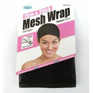 Dream, Firm & Thick Mesh Wrap with Velcro Closure (Item #119 Black), One size, cool mesh fabric, mesh, fabric, comfortable, soft material, velcro closure, weave, hair extension, wig cap