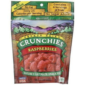 Crunchies Freeze-Dried Fruit Snack, Raspberries, 1-Ounce Pouches (Pack of 6)