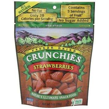Crunchies Freeze-Dried Fruit Snack, 100 % Organic Strawberries, 1-Ounce Pouches (Pack of 6)