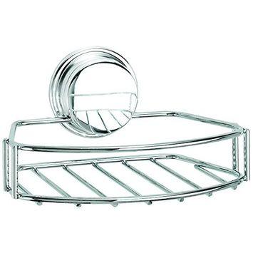 Croydex Chrome Plated Mild Steel Rust Free Stick 'N' Lock Plus Adhesive or Screw Fix Soap Basket, Silver [Soap Basket]