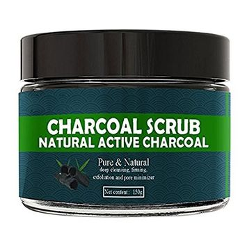Easyinsmile 150G Activated Charcoal Scrub for Face and Body Natural Skin/Face Care Deep Cleansing,Firming,Exfoliation,Pore Minimizer,Reduces Wrinkles, Blackheads and Acne Scars