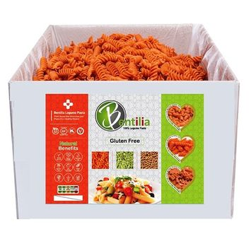 Bentilia Authentic Italian Organic Red Lentil Rotini (10 lb Bulk Case). Gluten-Free and 100% Legumes Pasta Made with a Single Ingredient: North American Beans. No-GMO, Kosher and Vegan.