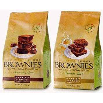 Sticky Fingers Chocolate Fudge and Espresso Fudge 16 oz. Premium Gourmet Brownie Mixes (One Of Each Delicious Flavor)