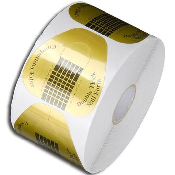 1Roll of 500pcs Form Golden Nail Art Tips Guide Sticker Extension Nail