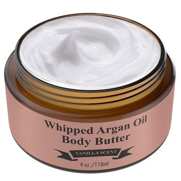Whipped Argan Oil Body Butter Cream - Make Your Skin Soft & Silky Smooth - Made With Argan Oil Which Has Restorative And Antioxidant Properties - No Parabens -