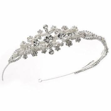 USABride Elegant Rhinestone and Simulated Pearl Bridal Side Headband 3135