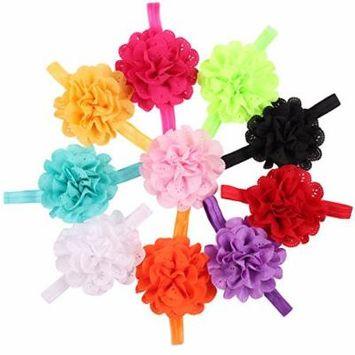 ROEWELL® 10 Pcs Baby's Headbands Girl's Chiffon Headband Hair Bows Head Wear Flower