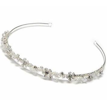 USABride Petite Wedding Floral Headband with Simulated Pearls & Rhinestone 137