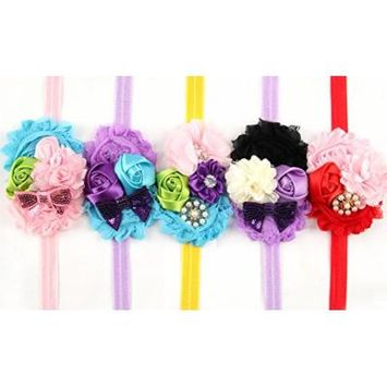 ROEWELL 5 Pcs Baby Headbands Girl's Hair Bows Infant Hairband Cute Head wrap(5 Pack)
