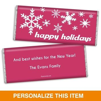 Candy Bar Christmas Card Holiday Flurries Fully Assembled HERSHEY'S Bars - Blush (36 Count)