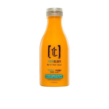 Teenology 'Be in the Clear' Body Wash for Teens - Tropical Orange - AVOID BREAKOUTS! - Sulfate Free - Paraben Free - Contains Natural Botanicals - Cruelty Free - Made in USA - 16 oz.